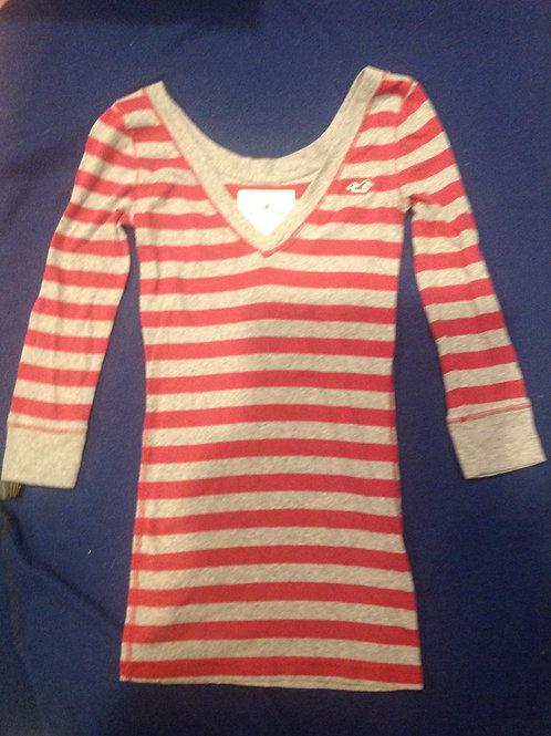 Hollister ls shirt gray stripe