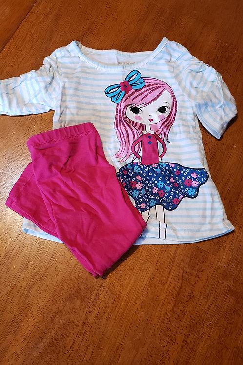 Healthtrax 2pc Girl blue striped pink
