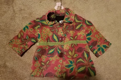 Corky pink floral coat W 3 pink buttons