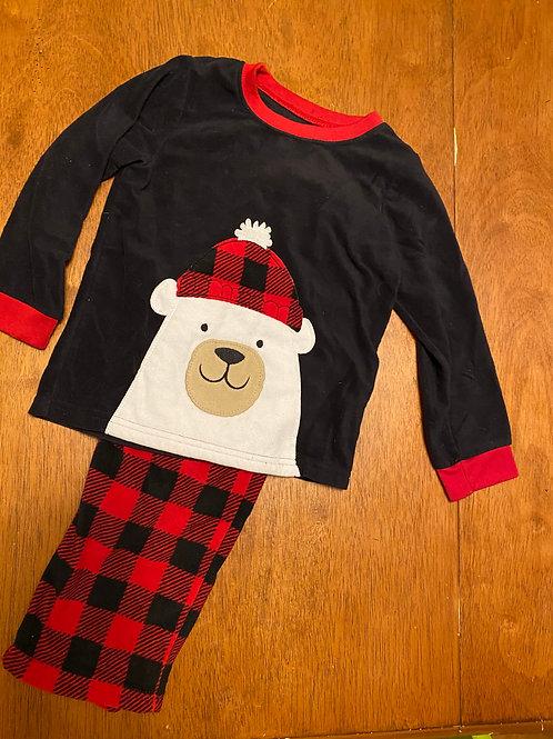 Carters red black bear fleece pjs