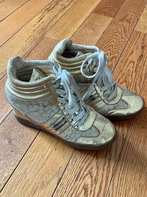 Coach Girls gold shoes