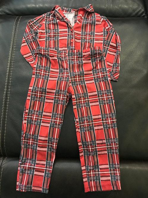 2pc red plaid pajama Set button coat style