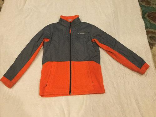 Columbia Orange Gray Fleece Zip Up Coat