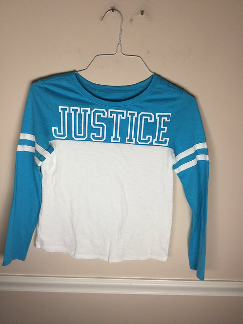 Justice blue  white Long sleeve shirt
