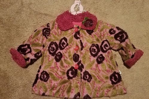Corky pink floral coat W pink furry cuffs collar