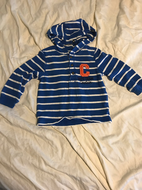 Carters hooded shirt Blue/white stripe