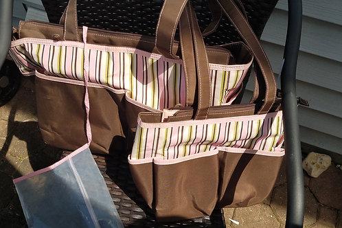 koala kids 4pc brown pink stripes bag set