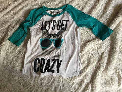 LOL Vintage White Green LS Shirt Cat Get Crazy