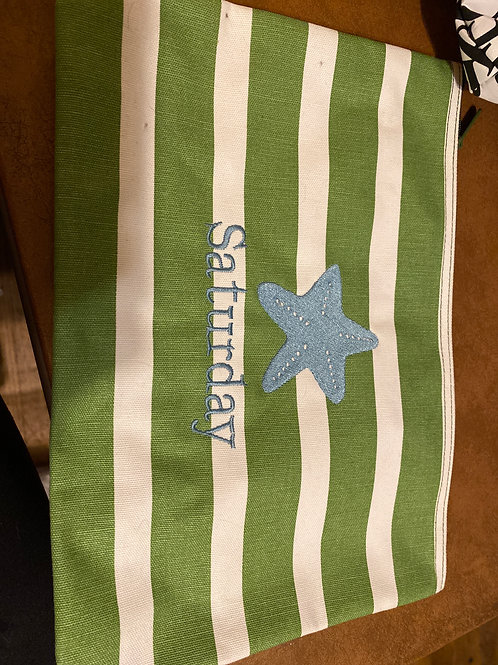 31 gifts green white Stripe pouch saturday
