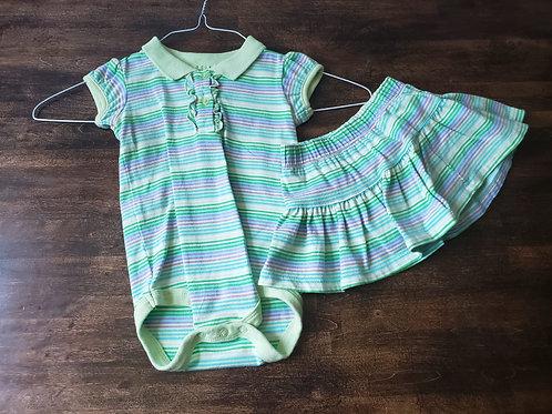 Wonder Kids 12M Stripe bodysuit w/skirt