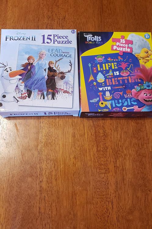 NIB 2 15pc puzzles frozen trolls