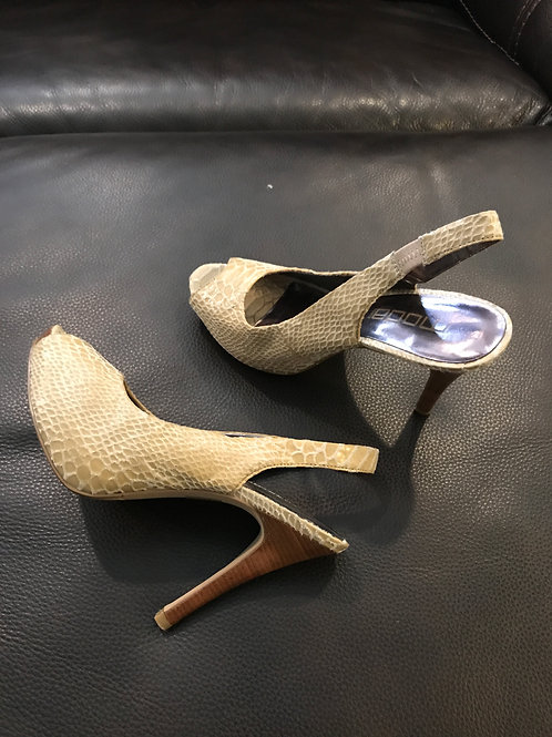 Moda ivory faux snake Sling back open toe heels