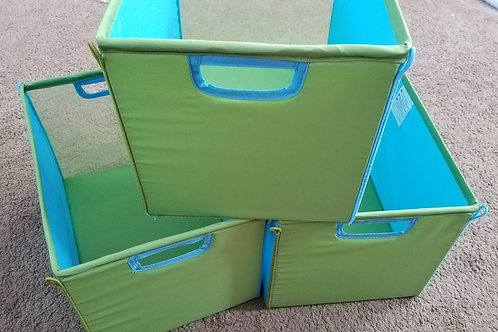 3 storage bins blue Green Collapsible