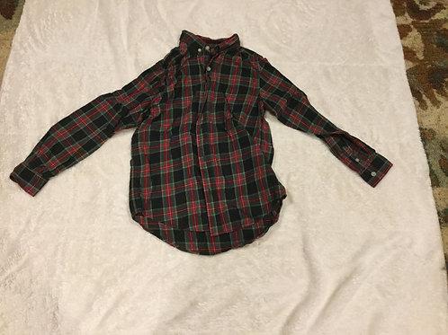 Children Place Red Green Black Plaid Dress Shirt