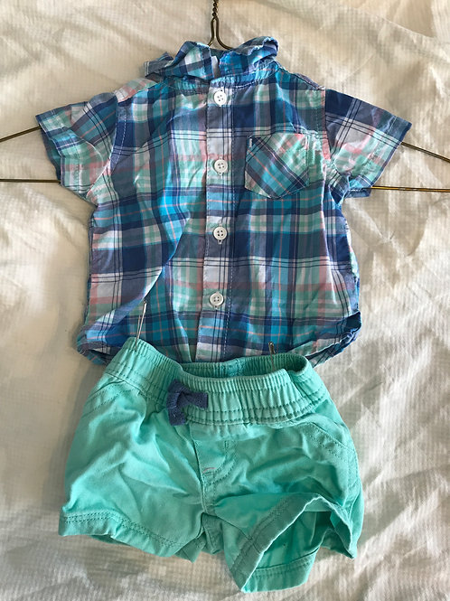 Carters 2pc SS/shorts Pink/teal/blue plaid button