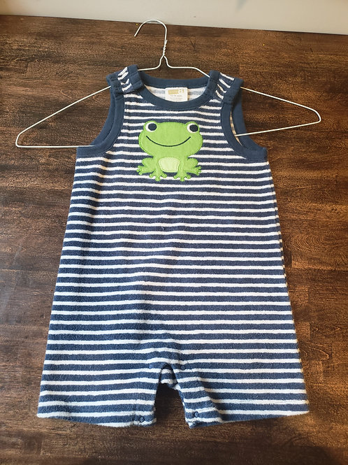 Baby Crazy 8 Blue stripe Overall w/frog