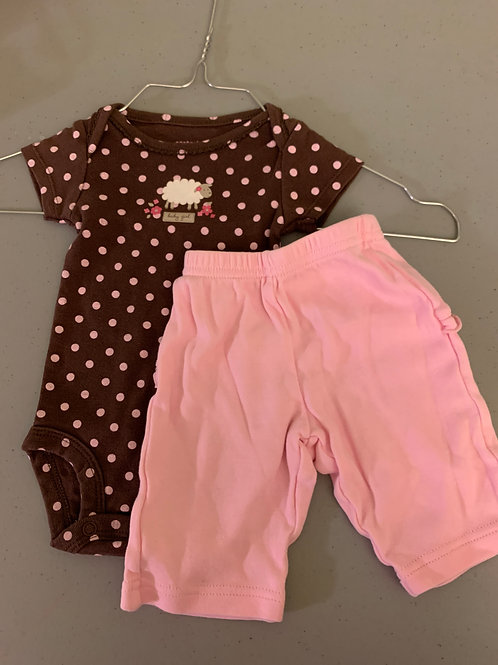 Carter NB 2pc pink pant brown dot onesie w sheep