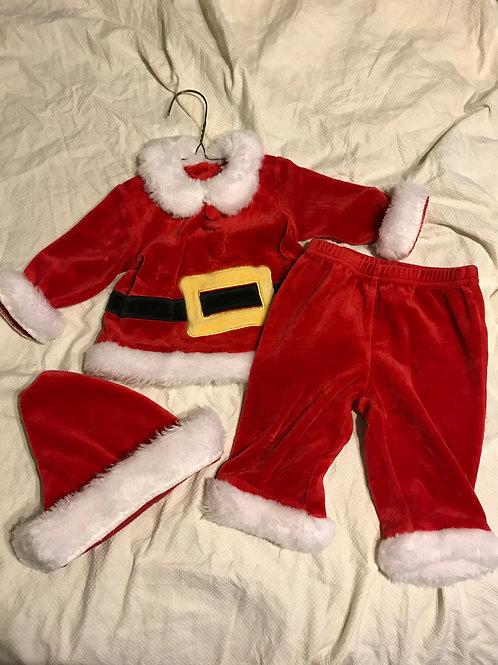 3-6m 3pc Santa suit Top/hat/pants