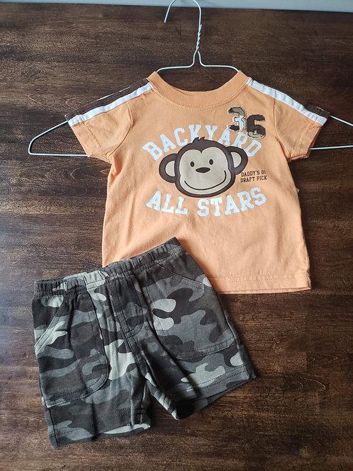 Carters 2 piece Monkey w/Camo shorts