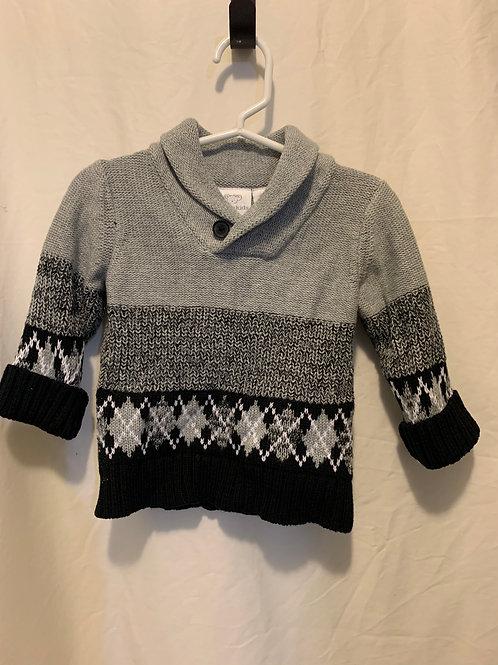 koala kids gry/blk sweater, 6-9mo