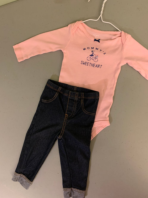 Carters 9m2pc pink onsie mommy swtheart and jeans