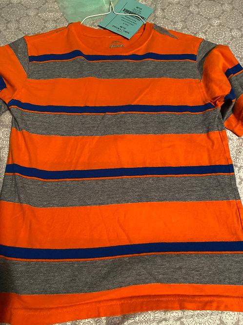faded glory ss shirt orange blue gray stripes