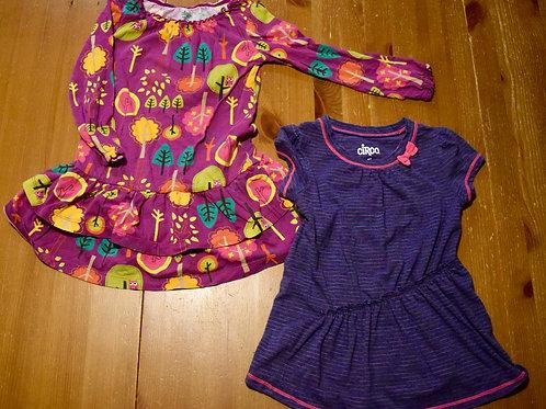 Circo LS SS dress 2pc Owl LS blue pink stripe SS