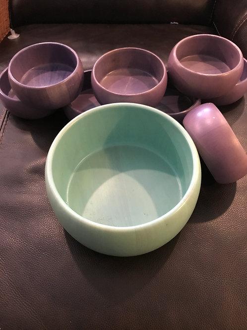 1 aqua wooden salad bowl 8 purp woodn serv bowls