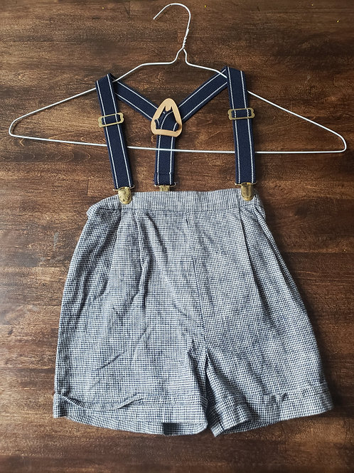 Blue Checkered shorts with Suspenders