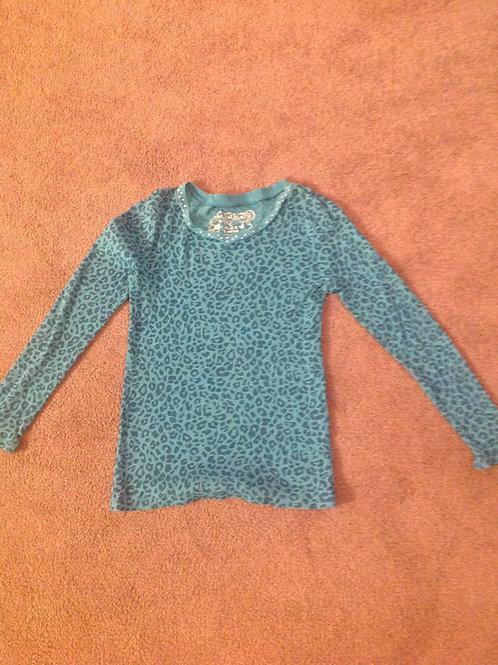 The Childrens Place blue leopard ls shirt