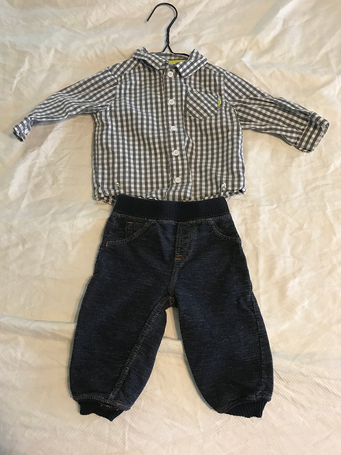 Carters 9m grey/white Button up/jeggings