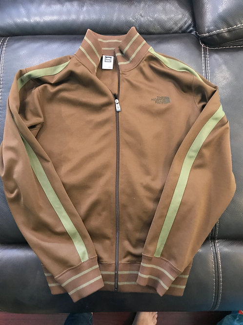 North Face zip jacket Brown with green stripe