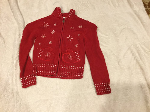 Savannah Red Zip Up Sweater Snowflake Mitten