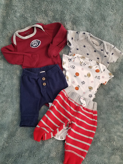 Carters Sports-3 tops & 2 bottoms