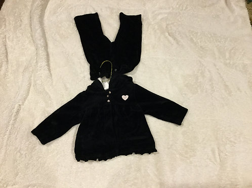 Carters 2 Pc Outfit Black Velour Hoodie Pant
