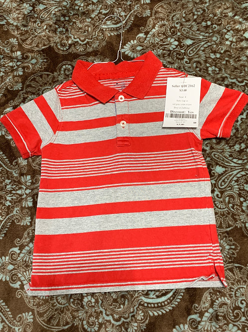 Baby Gap ss red gray colar stripes
