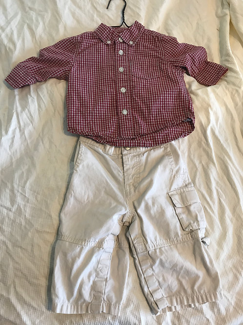 GAP 2pc 6-12m button up Red/white and khaki