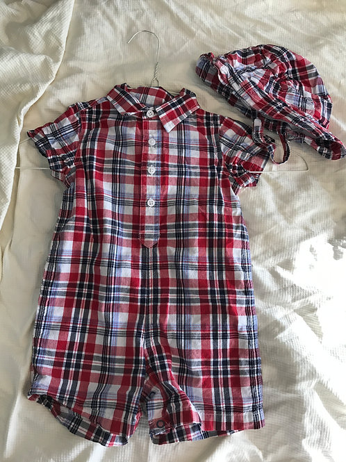 TCP button romper w/ hat Red/white/blue plaid
