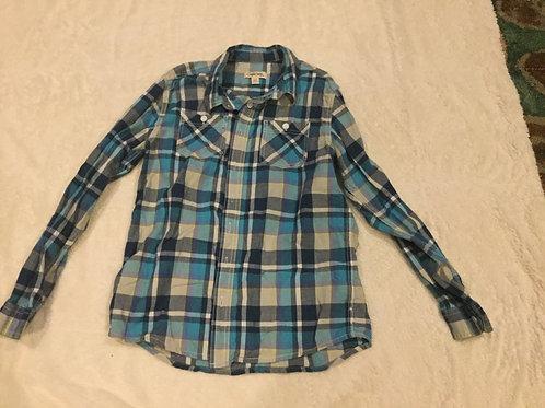 Cherokee Blue Green Long Sleeve Dress Shirt
