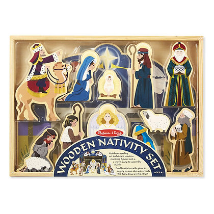 Melissa and Doug Wooden Christmas Nativity Set