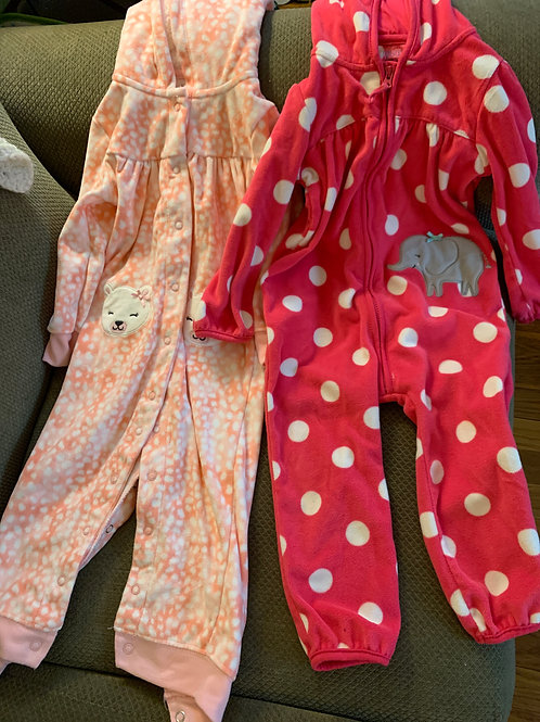 JOY 2 fleece pink outfits W/ hood Not footed