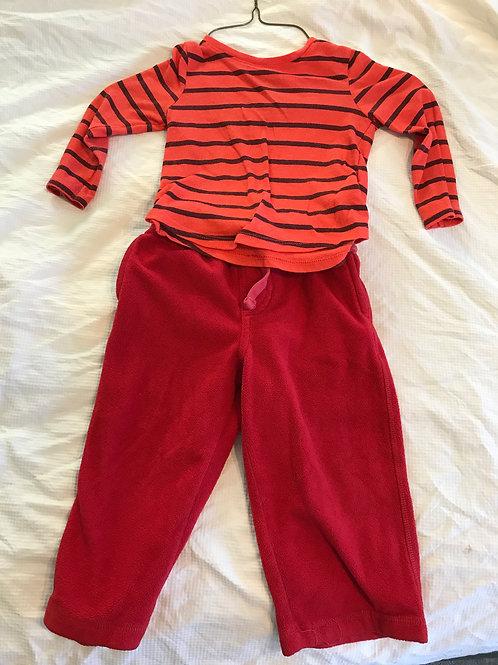 ON 2pc orange/black LS Shirt- red fleece pants