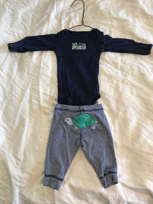 Carters 2pc outfit LS Blue little speedster
