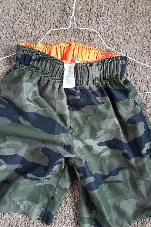 op swim shorts 6-7 green black camo