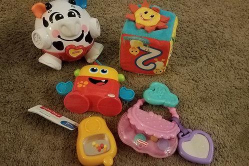 5pc infant rattle phone purse block cow
