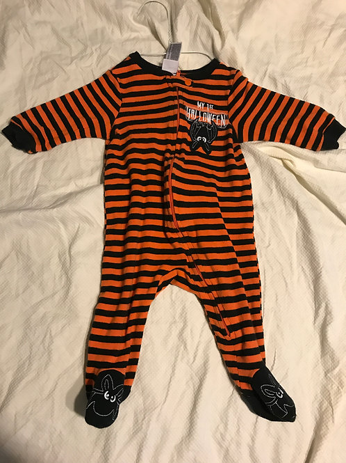 My first Halloween pjs Orange And black striped