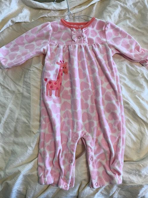 COM pink hearts and Giraffe fleece one pc