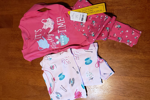 NWT Carters 4pc pj It's party time pink tea