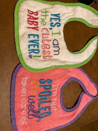 2pc bibs white green