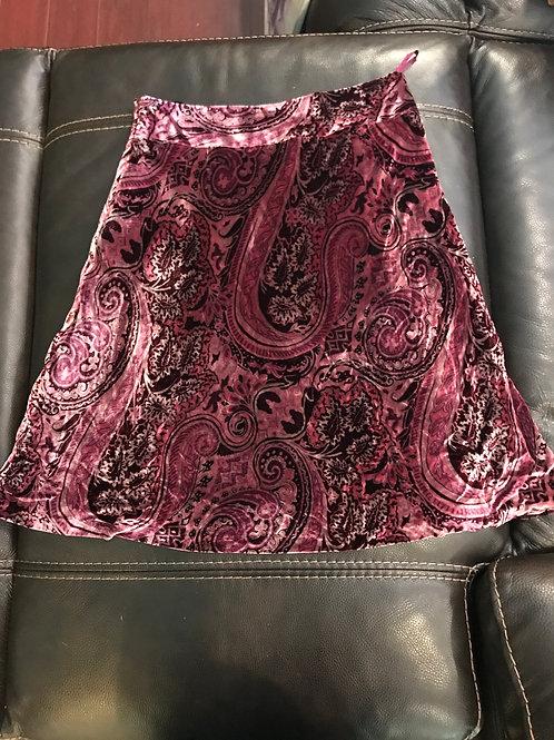 Banana Republic cranberry paisley velvet skirt